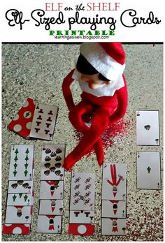 THE ELF ON THE SHELF~Elf-sized playing cards printables #elfontheshelf
