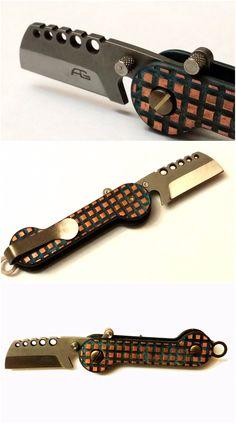 Frag Pattern Custom Copper KEY-BAR (1 of 1) with a Custom Cleaver Knife insert