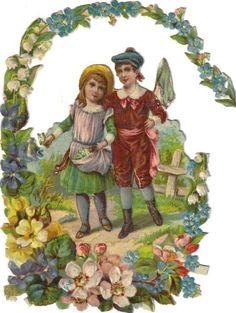 Victorian Die Cut Scrap Boy & Girl in Flower Garden c1880