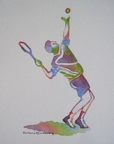 "#Tennis #Man Watercolor #Painting #Sports #Home #Office Wall #Decor #Blue #Purple #Green #Art #Gift. This tennis player is part of my new series of uniquely colorful paintings of Men at Work and Play. Organize the ""Baseball Man,"" ""Man on a Bench,"" ""Golf Man,"" and ""Man Walking with Briefcase"" in a wonderful grouping for your home or office! © 2012 by Barbara Rosenzweig, matted 11x14 art print of original $34 Free Shipping US - Etsy."