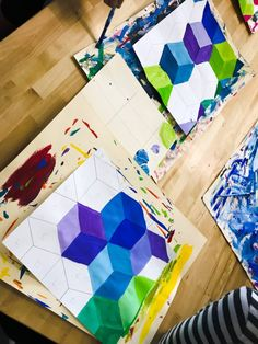 Mixing tints project - effect with mixing paints - instructions step by steps with photos. Middle School Art Projects, Art Projects For Teens, Toddler Art Projects, Art Education Projects, High School Art, Kids Education, Chuck Close Art, 7th Grade Art, Grade 1