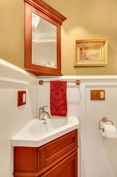 Traditional Bathroom with Corner Sinks Small Bathroom Cabinets, Bathroom Design Small, Bathroom Ideas, Corner Sink, Traditional Bathroom, Small Spaces, Home Furniture, Storage, Layouts