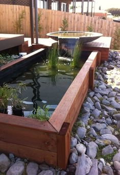 Stunning Water Features You Can Make In A Day is part of Backyard water feature - Is It Possible To Create A Beautiful Water Feature In Just A Couple Of Hours Or Less Absolutely it is! Allow me to introduce you to the world of container water features Patio Pond, Diy Pond, Ponds Backyard, Backyard Landscaping, Koi Ponds, Landscaping Ideas, Backyard Waterfalls, Garden Ponds, Outdoor Fish Ponds