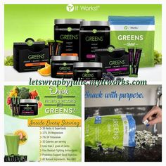 Are you struggling with lack of energy, foggy mind, digestive issues or irregularity? The Greens drink will help with that. Most of us lack the full serving of fruits and veggies our bodies should consume daily but with this product, it gives us the full serving in one 8 oz glass of water! I'm a faithful drinker and I love it. Detox, cleanse & rejuvenate your body. www.letswrapbyjulie.myitworks.com