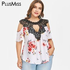 fdf6e7a3147 PlusMiss Plus Size 5XL XXXXL XXXL Floral Flower Print Loose Chiffon Blouse  Lace Crochet Boho Cold Shoulder Tops Women Big Size