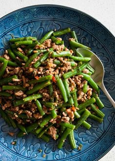 Chinese style dish with beans and pork mince is modified to suite to Japanese…