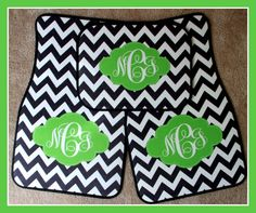 Monogrammed Gift Personalized Car Mats Black Chevron and Lime Frame Monogrammed Car Mats Custom Car Mats Monogrammed Car Accessory