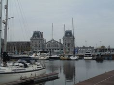 View from the marina at the railway station in Ostend, Belgium
