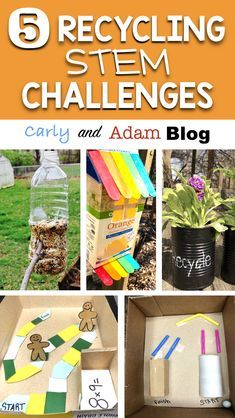5 Recycling STEM Challenges: (Recycling unit, recycling activities, Earth Day STEM, Earth Day Activities)