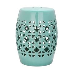 Safavieh ACS4508 Circle Lattice Ceramic Garden Stool Robins Egg Blue ($95) ❤ liked on Polyvore featuring home, outdoors, patio furniture, outdoor stools, garden decor, garden stools, home decor, robins egg blue, outdoor ceramic stool and ceramic garden stool