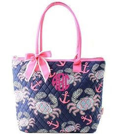 """Personalized Monogram 16"""" Quilted Tote Bag"""