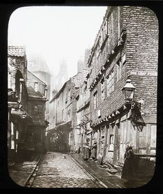 """them-days-was-olden-as-fuck: """" This is a Glass Slide entitled 'A bit of old Newcastle.' featuring a street view of Newcastle upon Tyne's Cathedral and Dog Leap Stairs. The slide is from the late Durham City, Uk Photos, Europe Photos, Old Street, Local History, Family History, Old London, Historical Pictures, Vintage Photographs"""