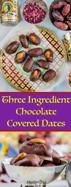 Herbivore Cucina: Three Ingredient Chocolate Covered Dates.A quick snack or dessert, these 'ChocoDates' are perfect for any craving. Three ingredients, ten minutes and one bowl is all you need! Quick Snacks, Healthy Snacks, Healthy Eats, No Bake Desserts, Dessert Recipes, Dessert Bars, Drink Recipes, Vegan Sweets, Healthy Desserts