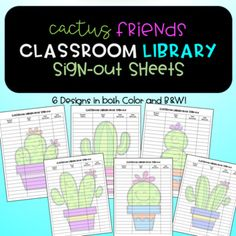 Cute Cactus themed sign-out sheets to keep track of your classroom library! 12 options to print with ADORABLE Cactus Friends Clipart by Creative Clips. There are 6 full color versions, as well as 6 black line versions. Columns include spaces for book title, student name, date signed out, and date returned.