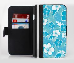 The Hawaiian Floral Pattern V4 Ink-Fuzed Leather Folding Wallet Credit-Card Case for the Apple iPhone 6/6s, 6/6s Plus, 5/5s and 5c from DesignSkinz