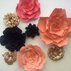 Large paper flowers coral navy and rose gold ready by PaperFlora