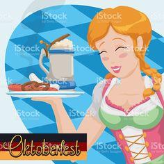 Happy Bavarian Waitress in Dirndl Working in the Oktoberfest Event