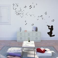 Μουσικός με τρομπέτα και νότες Decals, Home Decor, Tags, Decoration Home, Room Decor, Sticker, Decal, Home Interior Design, Home Decoration