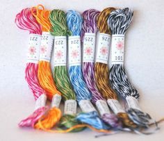 Embroidery Floss Mingles Pallete  7 Skeins Pack  by CraftyWoolFelt