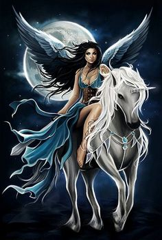 Find images and videos about angel, fantasy and unicorn on We Heart It - the app to get lost in what you love. Unicorn And Fairies, Unicorn Art, White Unicorn, Fantasy Fairies, Unicorn Fantasy, Elfen Fantasy, Fairy Pictures, Beautiful Fairies, Beautiful Unicorn
