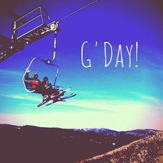 G'day! Snowing in Thredbo, Australia - ski patrol on hand.
