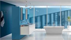A series of regionally inspired kitchen and bath ideas pairing Benjamin Moore paint colors and innovative Kohler fixtures. Coastal Bathrooms, Dream Bathrooms, Custom Bathrooms, Beautiful Bathrooms, Benjamin Moore, Glass Vessel Sinks, Red Rooms, Soothing Colors, Love Your Home