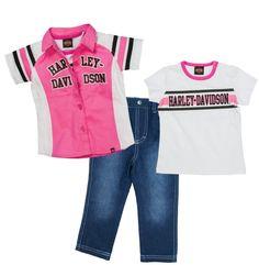 8c4e20a29 Harley-Davidson® Girls' 3-Pc Playwear Set   T-Shirt, Woven Shirt and Denim  Jeans