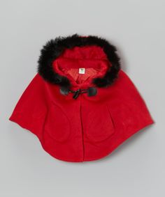 Take a look at this Red Faux Fur Hooded Poncho - Toddler & Girls on zulily today!