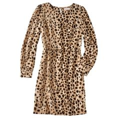 Merona® Womens Long Sleeve Shift Dress in Leopard Print... With black tights and black booties