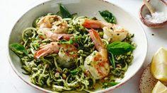 Pete Evans' paleo spaghetti with prawns, pesto & pistachios