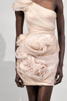 Marchesa white rosette cocktail gown