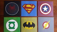 DIY wall art for boys room- superhero logos