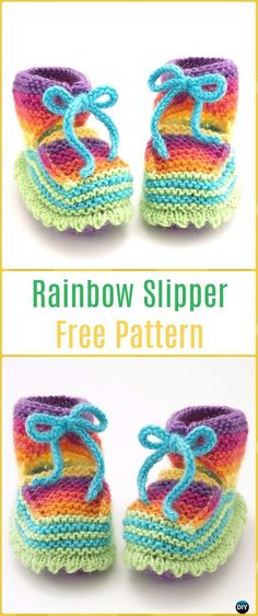 Knit Rainbow Booties Free Pattern - Knit Slippers Booties Free Patterns