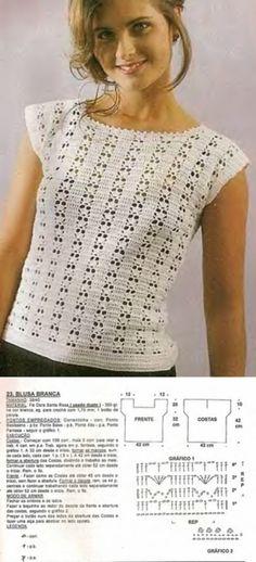 0489 - T-shirt, Marsh - V'yazannya a zhіnok - Kiadó - Md. Crochet Dog Sweater, Crochet Shirt, Crochet Baby, Crochet Top, Crochet Magazine, Crochet Woman, Crochet Purses, Crochet Fashion, Crochet Clothes