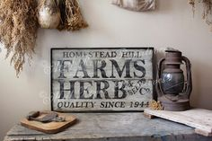 Aged Primitive Farms & Herbs Sellers Wood Sign via Etsy