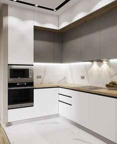 Modern Grey Kitchen, Modern Kitchen Interiors, Contemporary Kitchen Design, Minimalist Kitchen, Kitchen Pantry Design, Home Decor Kitchen, Interior Design Kitchen, Modern Apartment Decor, Home Room Design