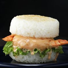 Shrimp Tempura Rice Burger Recipe by Tasty Sushi Recipes, Burger Recipes, Baby Food Recipes, Seafood Recipes, Asian Recipes, Cooking Recipes, Healthy Recipes, Cooking Games, Rice Burger Recipe