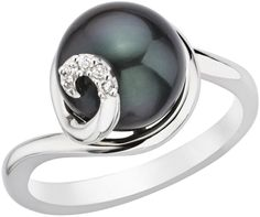 Ice.com 9-10mm Cultured  Black Pearl and Diamond Sterling Silver Ring on shopstyle.com