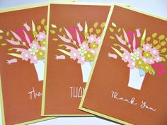 Floral Note Cards, Set of 6 Floral Note Cards, Shower Thank You Notes, Gift for Gardener, Fall Thank Thank You Postcards, Thank You Notes, Thank You Cards, White Envelopes, Note Cards, Card Stock, Floral Design, Shower, Fall