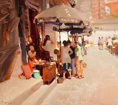"""Kim English - Morris & Whiteside Galleries """"Made in China"""" Kim English, Large Painting, Figure Painting, Building Painting, Shadow Photos, Painting Competition, Art Students League, English Artists, Paintings For Sale"""