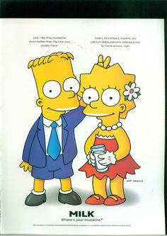 """Pin for Later: The Most Got Milk? Ads Bart and Lisa Simpson goofed off in their """"Got Milk? The Simpsons, Simpsons Funny, Lisa Y Bart, Got Milk Ads, Bart And Lisa Simpson, Los Simsons, Homer And Marge, Cartoon Characters, Fictional Characters"""