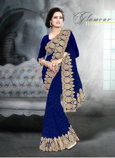 Shop our Charming Viscose Georgette Royal Blue Saree.
