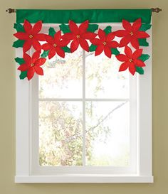 Christmas Poinsettia Floral Window Valance from Collections Etc.