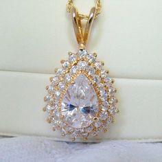 Zircon Gemstone CZ Vintage Pendant Necklace Rhinestones Jewelry Jewellery Gift for Her Bridal Party April Birthday