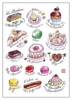 French pastries illustration print Kitchen art by lucileskitchen French Patisserie, French Bakery, French Pastries, French Food, Italian Pastries, French Stuff, Dessert Illustration, Illustration Mode, Food Illustrations
