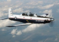 A USAF T-6A Texan II flying from Randolph Air Force Base.