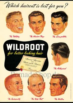 """Poster """"WILDROOT Hairstyles"""" (1953), DIN A2, folded - Pomade Shop"""