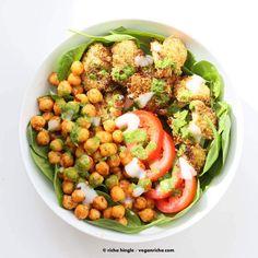 Moroccan Chickpea Cauliflower Bowl with Herb sauce | Vegan Richa