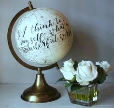 And I Think To Myself, What A Wonderful World - Large, White and Gold Globe…love this, this was our wedding song Globe Art, Map Globe, Globe Decor, Painted Globe, Globe Crafts, Deco Marine, Gold Globe, Travel Wall, Travel Room Decor