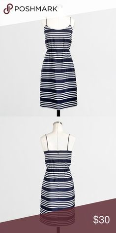 J. Crew Printed Blouson Tankdress NWT Adorable spaghetti strap J. Crew Factory printed blouson tankdress in navy blue and white. Perfect spring and summer dress. The elastic waistband on this dress pulls the dress in to accentuate your figure. Falls just above knee. Size 8. Brand New with Tags. Dress is 100% polyester and the lining is 100% acetate. J. Crew Factory Dresses